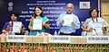 Maneka Sanjay Gandhi releasing a handbook, at the inauguration of the National Conference of the State Ministers and Principal SecretariesSecretaries of WCD to review the implementation of various schemes of Ministry.jpg
