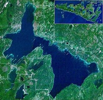 Lake Manitou - Satellite image of Lake Manitou on Manitoulin Island