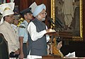 Manmohan Singh addressing at the 60th anniversary of Independence Day Celebrations organised by the Lok Sabha Speaker, Shri Somnath Chatterjee at the Central Hall of Parliament in New Delhi on August 15, 2007.jpg