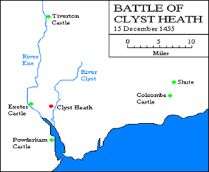 Clyst Heath - Map showing places significant to the 1455 battle