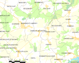 Mapa obce Damas-et-Bettegney