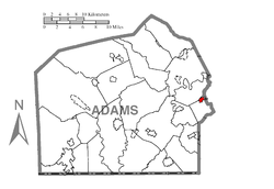 Map showing Abbottstown in Adams County