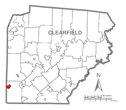 Map showing Burnside in Clearfield County