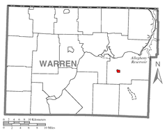 Map of Clarendon, Warren County, Pennsylvania Highlighted.png