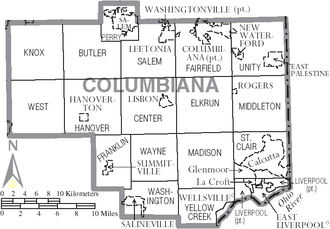 Columbiana County, Ohio - Map of Columbiana County, Ohio with Municipal and Township Labels