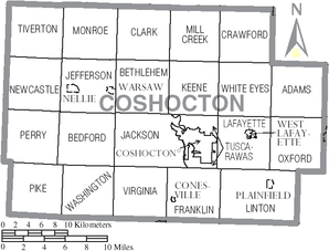 Map of Coshocton County Ohio With Municipal and Township Labels.PNG