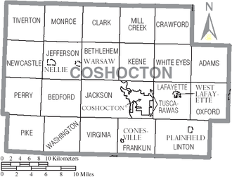 Coshocton County, Ohio - Map of Coshocton County, Ohio with Municipal and Township Labels