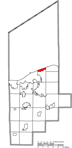 Location of Sheffield Lake in Lorain County