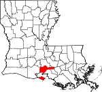 State map highlighting Iberia Parish