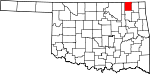 State map highlighting Nowata County