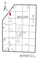 Map of Slippery Rock, Butler County, Pennsylvania Highlighted.png