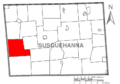 Map of Susquehanna County Pennsylvania highlighting Rush Township.PNG