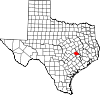 State map highlighting Burleson County