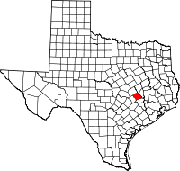 Map of Texas highlighting Burleson County