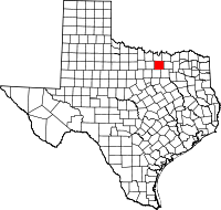 Map of Texas highlighting Denton County