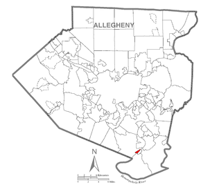 Map of West Elizabeth, Allegheny County, Pennsylvania Highlighted.png
