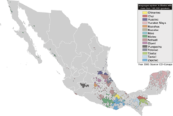 Map of the languages of Mexico