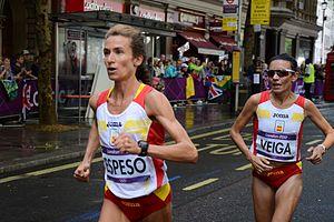 Vanessa Veiga - María Elena Espeso and Vanessa Veiga (right) in the 2012 Summer Olympics marathon