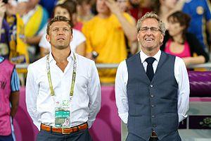 Marcus Allbäck - Allbäck and Swedish coach Erik Hamrén.
