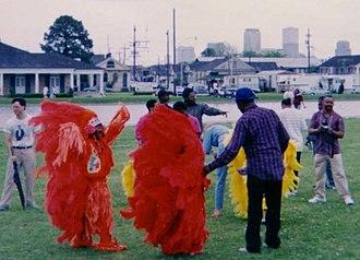 "Mardi Gras Indians - Mardi Gras Indians gathering along Bayou St. John for ""Super Sunday"" 1991"