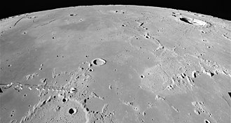 Mare Nubium - Oblique view of northern Mare Nubium from Apollo 16.