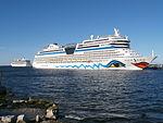 Marina departing and AIDAmar at Pier 24 in Port of Tallinn 17 August 2015.JPG