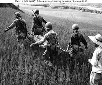 1st Provisional Marine Brigade - Members of the 1st Provisional Marine Brigade carry a wounded man on a stretcher during the Battle of Pusan Perimeter in 1950.