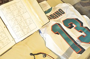 Dan Marino - Dan Marino jersey shown at Pro Football Hall of Fame in Canton, Ohio