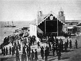 Chincha Islands War - The Chincha islands of Peru, being occupied by Spanish sailors on April 14, 1864