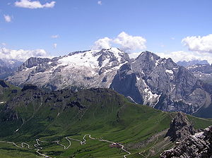Trentino - The Marmolada in the northeast is the highest mountain in the Dolomites