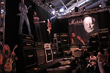 A selection of Marshall guitar amplifiers and speaker cabinets.