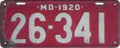 Maryland license plate, 1920.png