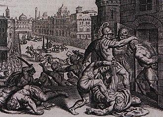 Grabado del siglo XVI de la masacre de Tesalónica en el hipódromo