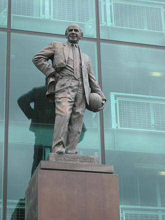 Matt Busby - A statue of Sir Matt Busby in front of Old Trafford stadium