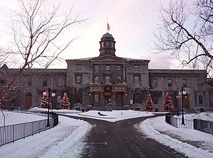 Higher education - The McGill University is an institution of higher learning in Montreal, Quebec, Canada.