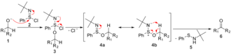 N-tert-Butylbenzenesulfinimidoyl chloride - In oxidation reactions with N-tert-butylbenzenesulfinimidoyl chloride, a five-membered ring transition state is responsible for the formation of a new double bond.