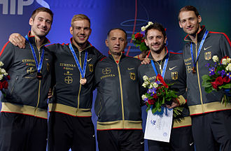 Men's team sabre at the 2015 World Fencing Championships - 2015 bronze medallists Germany with coach Vilmoș Szabo