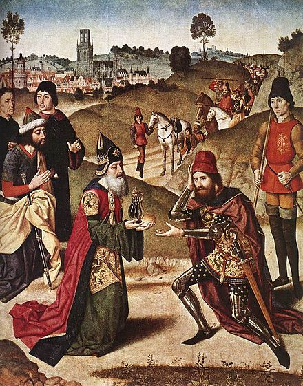 Meeting of Abraham and Melchizedek, canvas by Dieric Bouts the Elder, c. 1464-1467 Meeting of abraham and melchizadek.jpg
