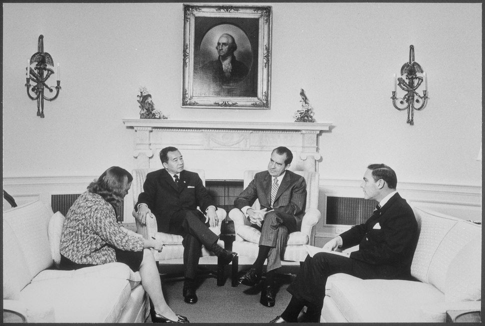 Meeting with His Excellecy Souvanna Phouma, Prime Minister of Laos in the Oval Office - NARA - 194692