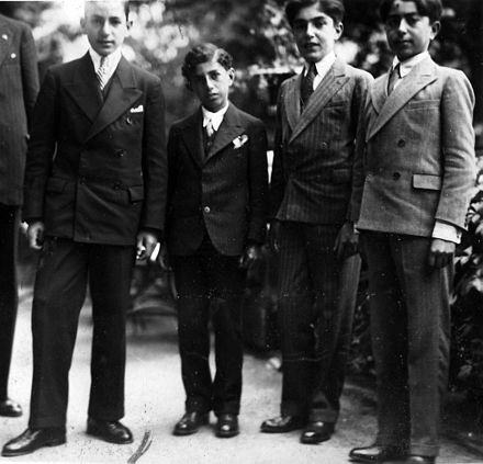 Mehrpour Teymourtash (second from right) with Crown Prince Mohammad Reza Pahlavi (first from left) at Le Rosey in Switzerland. Mehrpour Teymourtash with Crown Prince Mohammad Reza Pahlavi at Le Rosey in Switzerland.jpg