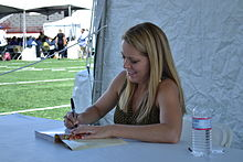 Melissa d'Arabian signing in the Cooking Stage area.jpg