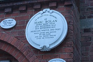Marc Bolan - Memorial plaque to Marc Bolan, Golders Green Crematorium