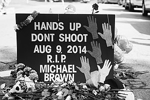 Shooting of Michael Brown - A makeshift memorial placed during protests