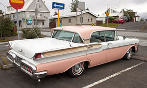 "Mercury Turnpike Cruiser - rear view showing ""Breezeway"" window"