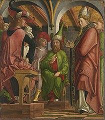 Kirchenväteraltar, Flügelaußenseite: Disputation des hl. Augustinus mit den Häretikern