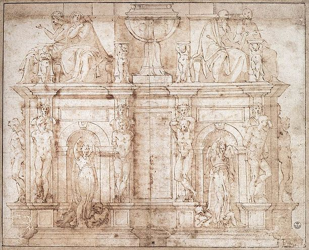 Michelangelo Second design for wall tomb for Julius II