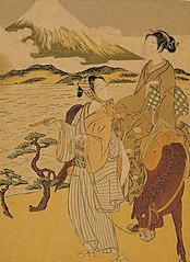 Mitate (Palody) of Azumakudari scene from the Tale of Ise