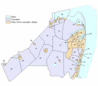 Monmouth County, New Jersey - Index map of Monmouth County municipalities (click to see index key)
