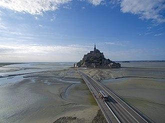 Mont-Saint-Michel - Le Mont-Saint-Michel with new bridge, taken from drone in 2018