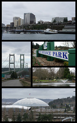Clockwise from top: Downtown Tacoma from the Port of Tacoma, Point Defiance Park, Wright Park, the Tacoma Dome, and the Tacoma Narrows Bridge